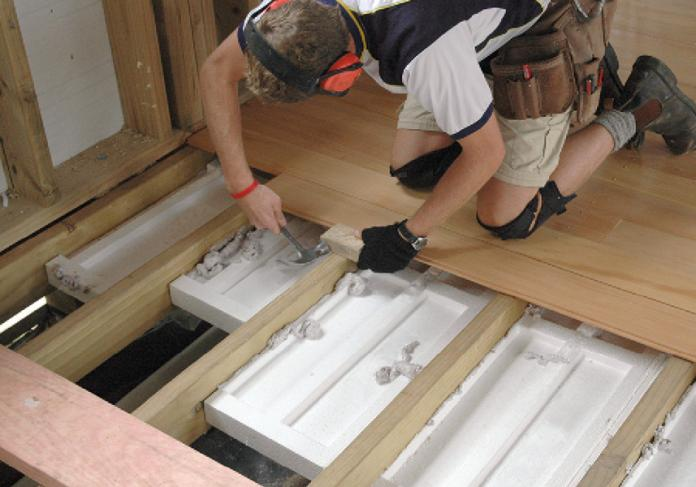 Figure 2 Polystyrene Insulation Can Easily Be Added To Subfloors During Construction Of A New