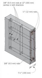 Figure 6: Arrangement of steel reinforcing in foundation walls over 6; (1800 mm) high for two storeys.